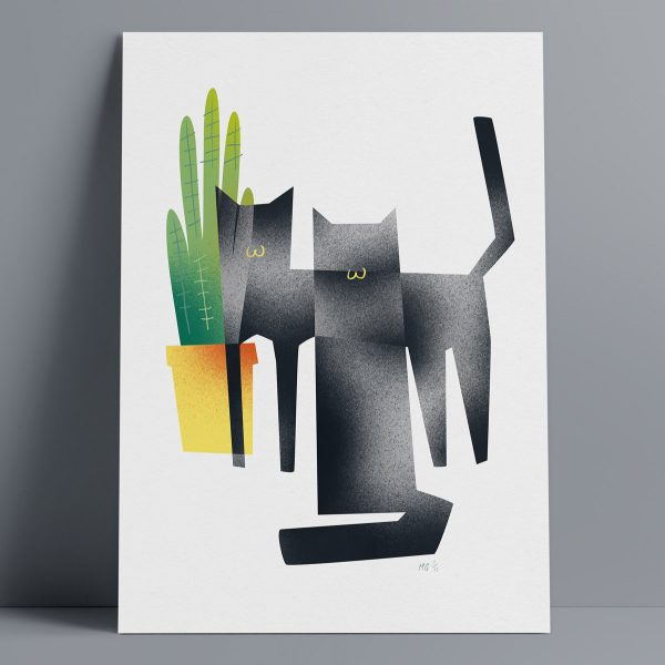 2 Black Cats - A3 Giclee Print