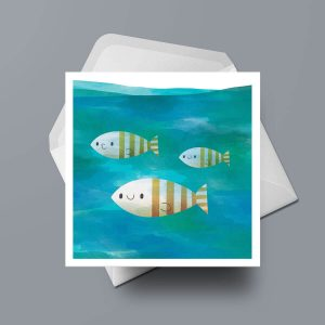 Greetings Card - Three Fishies by Michael Goodson