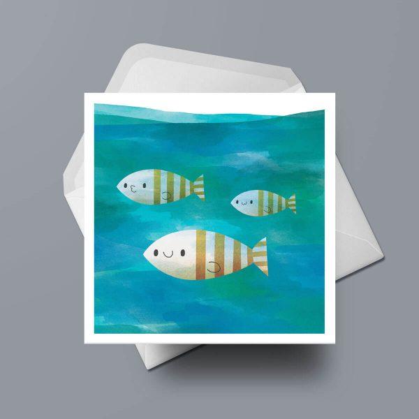 Greetings Card - Three Fishies by Michael Goodson