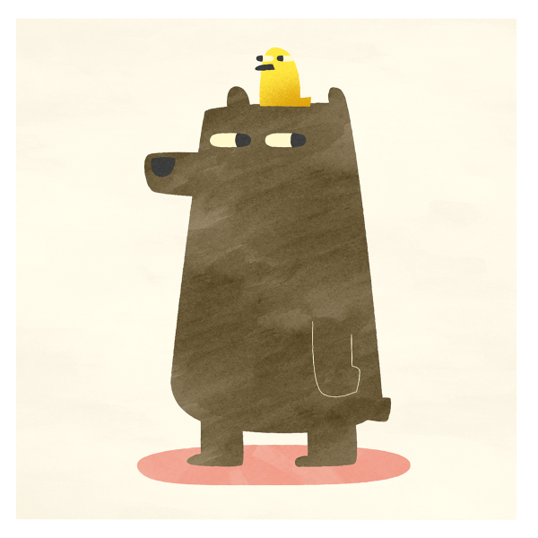 Greetings Card - Bird & Bear by Michael Goodson