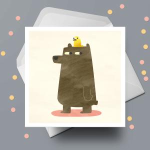 Greetings Card - Bird & Bear by Michael Goodson
