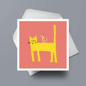 Greetings Card - Cat & Bird by Michael Goodson