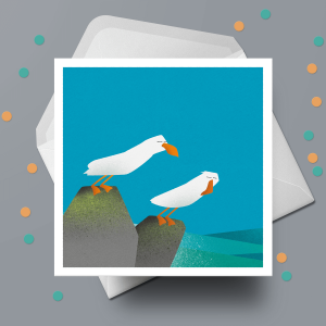Greetings Card - Gulls In A Gale by Michael Goodson