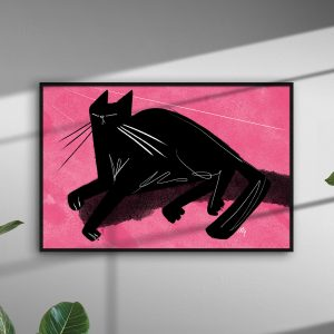 Black Cat On Pink 2 - Giclee print by Michael Goodson
